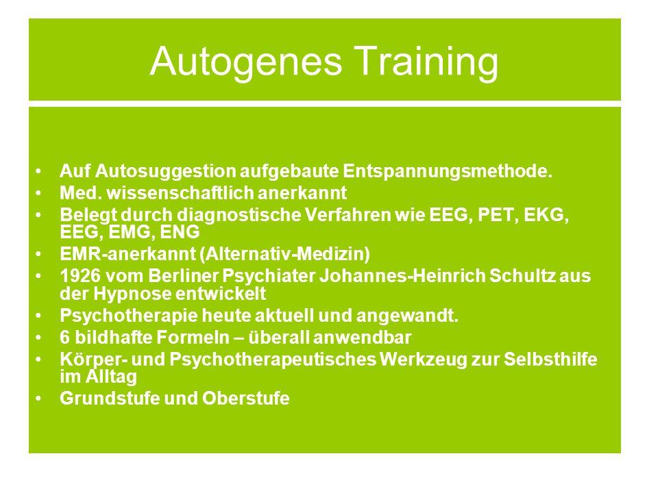 Autogenes Training Auf Autosuggestion aufgebaute Entspannungsmethode.