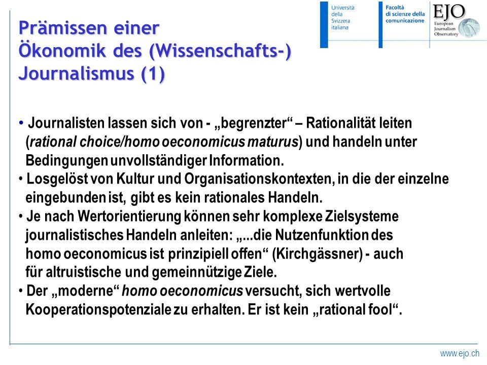 Ökonomik des (Wissenschafts-) Journalismus (1)