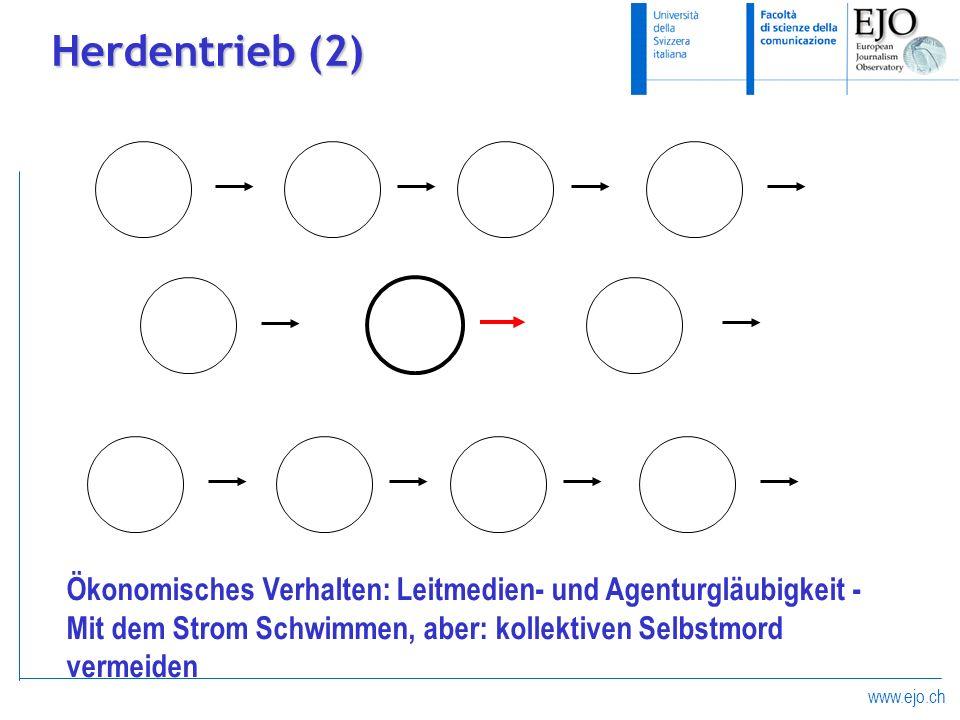 Herdentrieb (2)Ökonomisches Verhalten: Leitmedien- und Agenturgläubigkeit -Mit dem Strom Schwimmen, aber: kollektiven Selbstmord vermeiden.