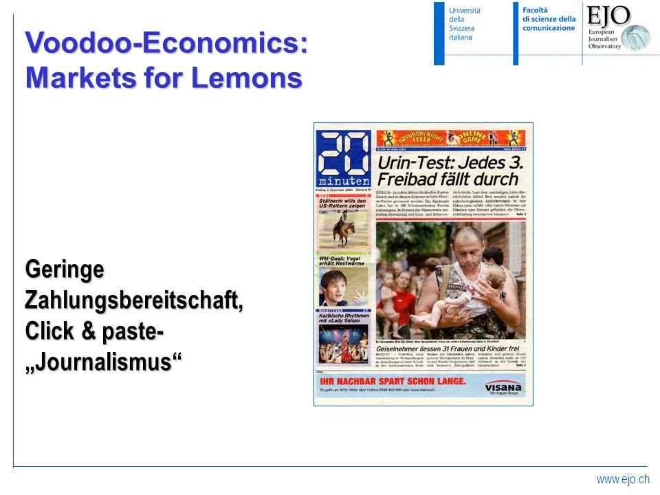 Voodoo-Economics: Markets for Lemons Geringe Zahlungsbereitschaft,