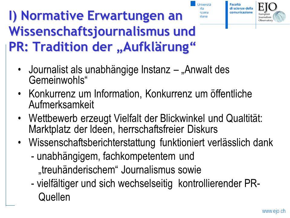 """I) Normative Erwartungen an Wissenschaftsjournalismus und PR: Tradition der """"Aufklärung"""