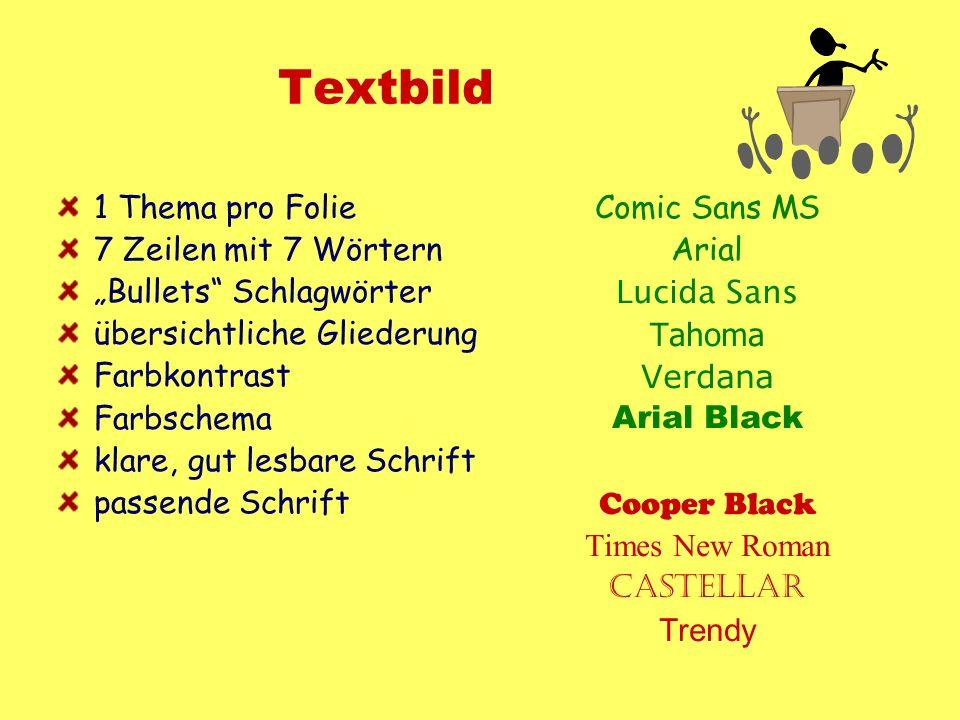 Textbild 1 Thema pro Folie 7 Zeilen mit 7 Wörtern