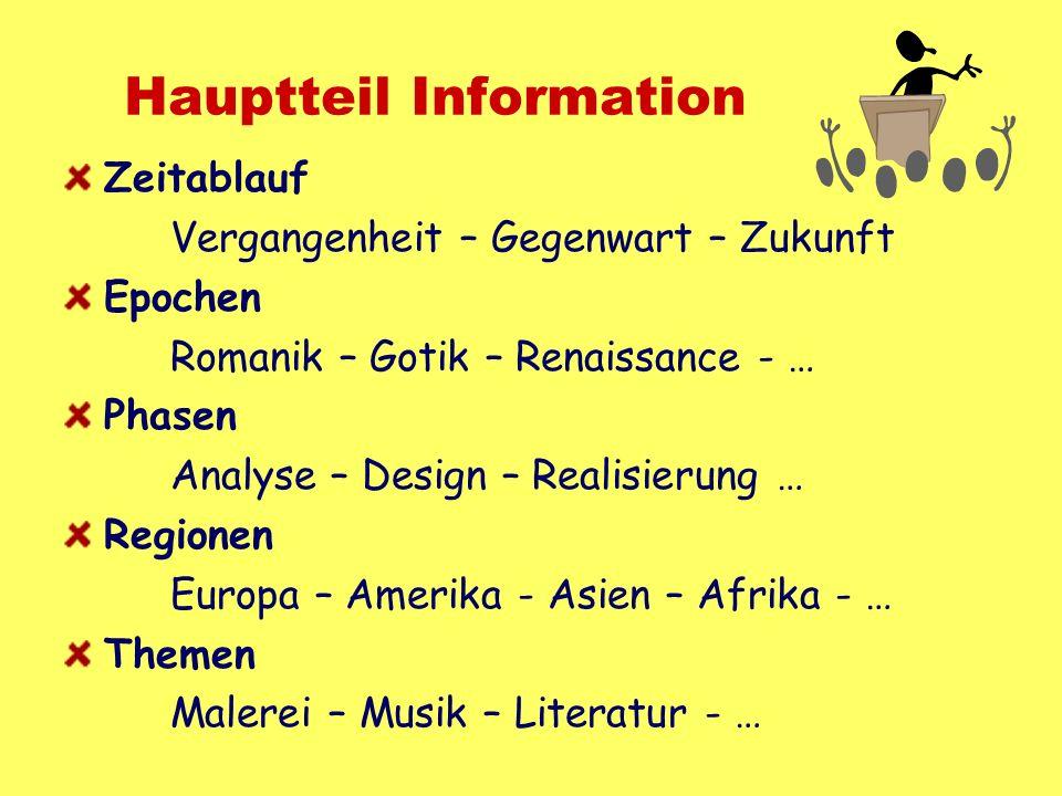 Hauptteil Information