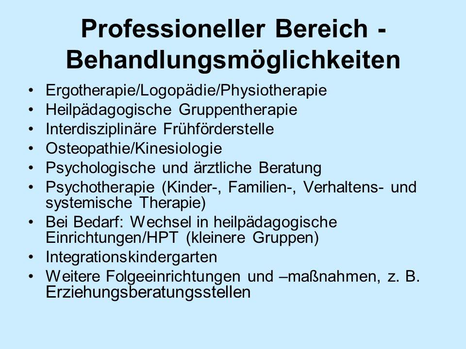 Professioneller Bereich - Behandlungsmöglichkeiten