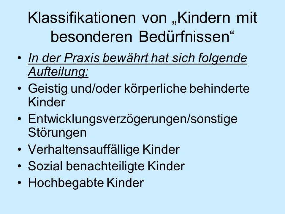 """Klassifikationen von """"Kindern mit besonderen Bedürfnissen"""