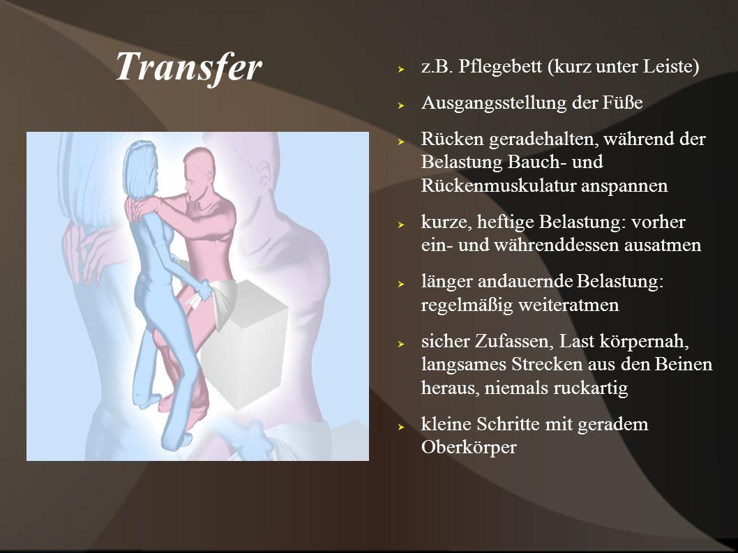 Transfer z.B. Pflegebett (kurz unter Leiste) Ausgangsstellung der Füße