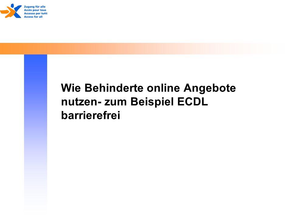 Wie Behinderte online Angebote nutzen- zum Beispiel ECDL barrierefrei