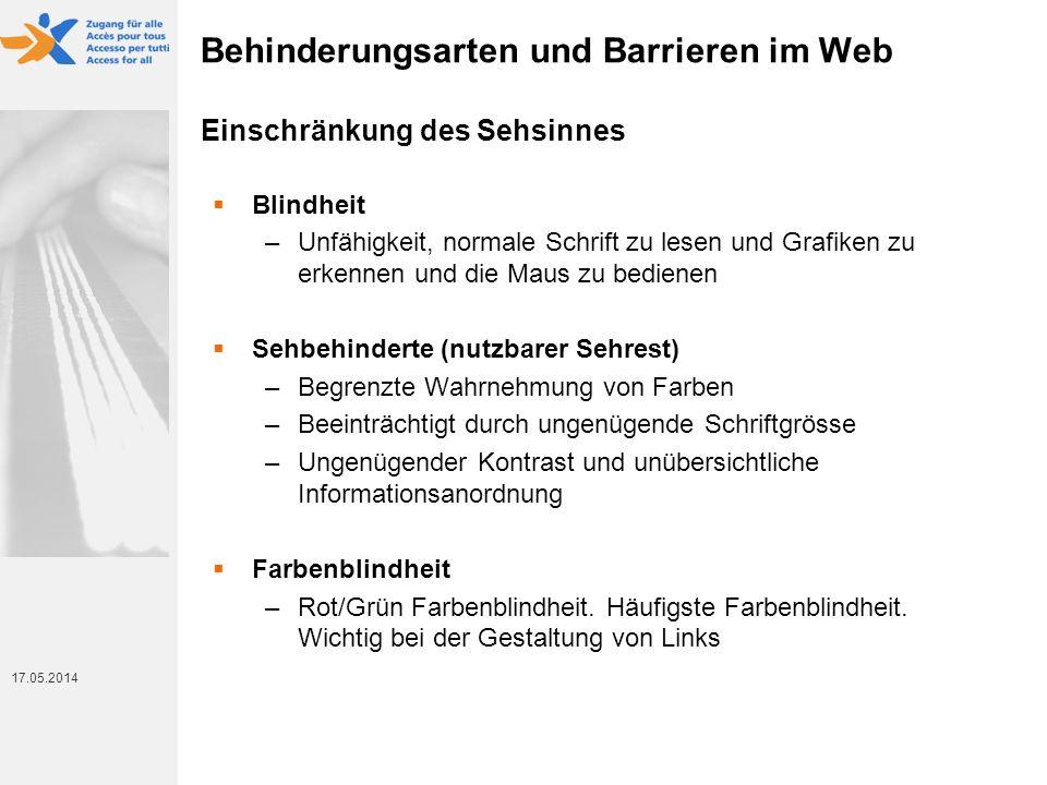 Behinderungsarten und Barrieren im Web Einschränkung des Sehsinnes