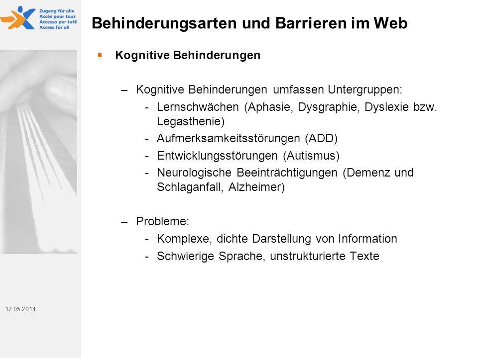Behinderungsarten und Barrieren im Web