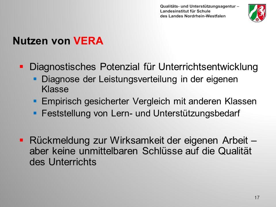 Nutzen von VERA Diagnostisches Potenzial für Unterrichtsentwicklung