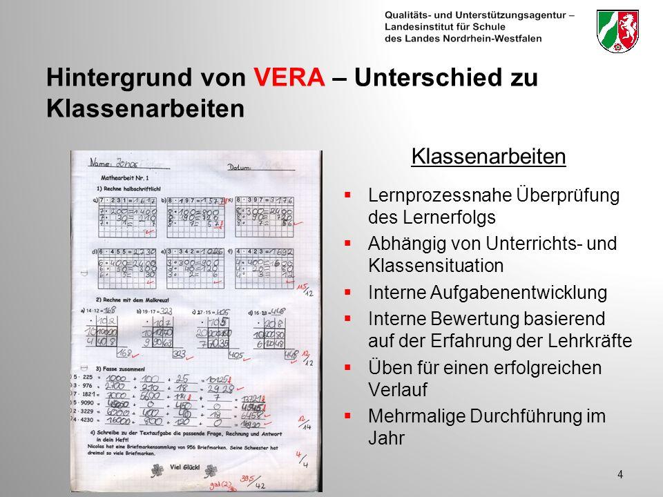 Hintergrund von VERA – Unterschied zu Klassenarbeiten