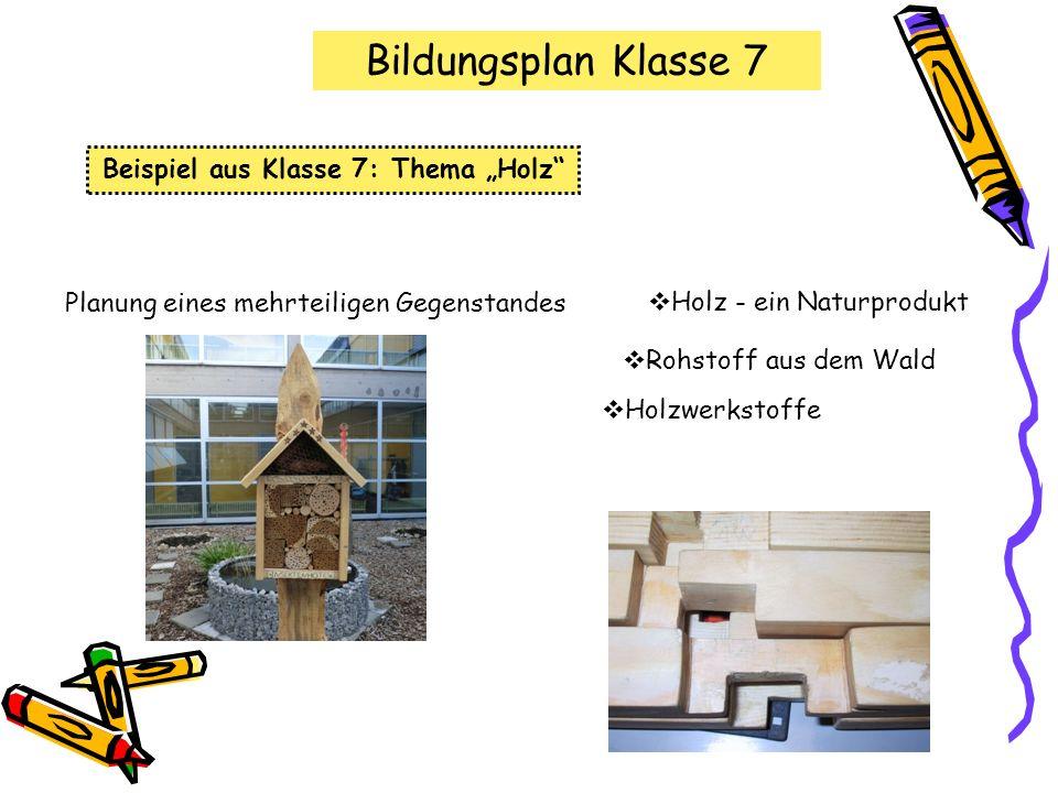 """Beispiel aus Klasse 7: Thema """"Holz"""
