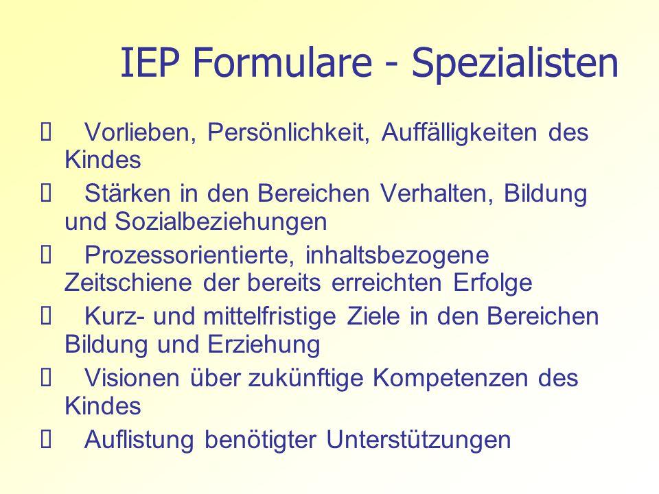 IEP Formulare - Spezialisten