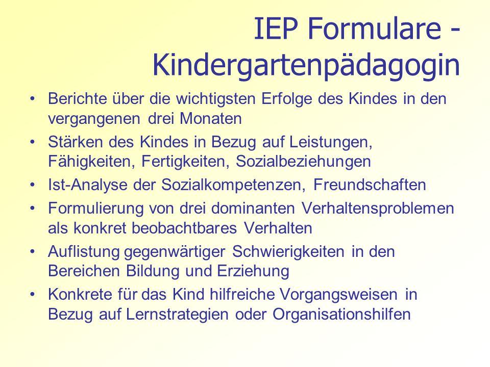 IEP Formulare - Kindergartenpädagogin