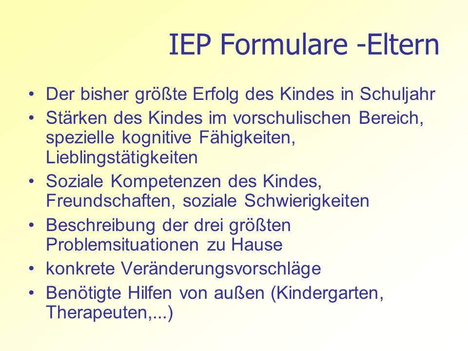 IEP Formulare -Eltern Der bisher größte Erfolg des Kindes in Schuljahr
