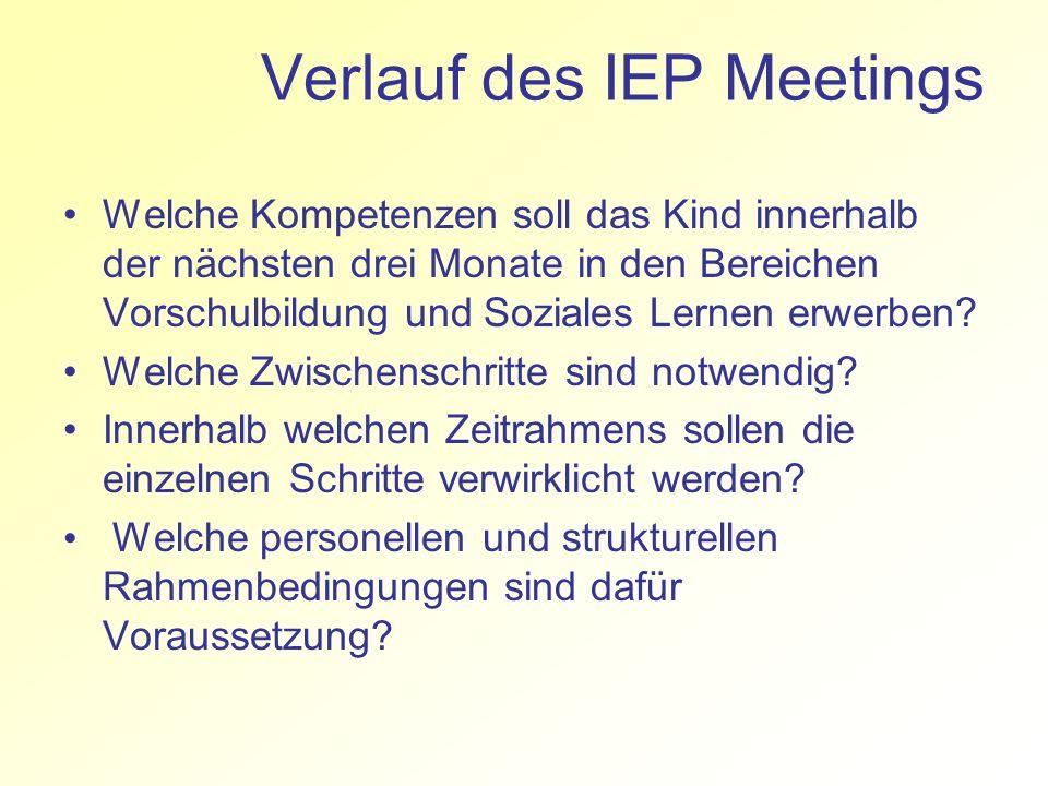 Verlauf des IEP Meetings