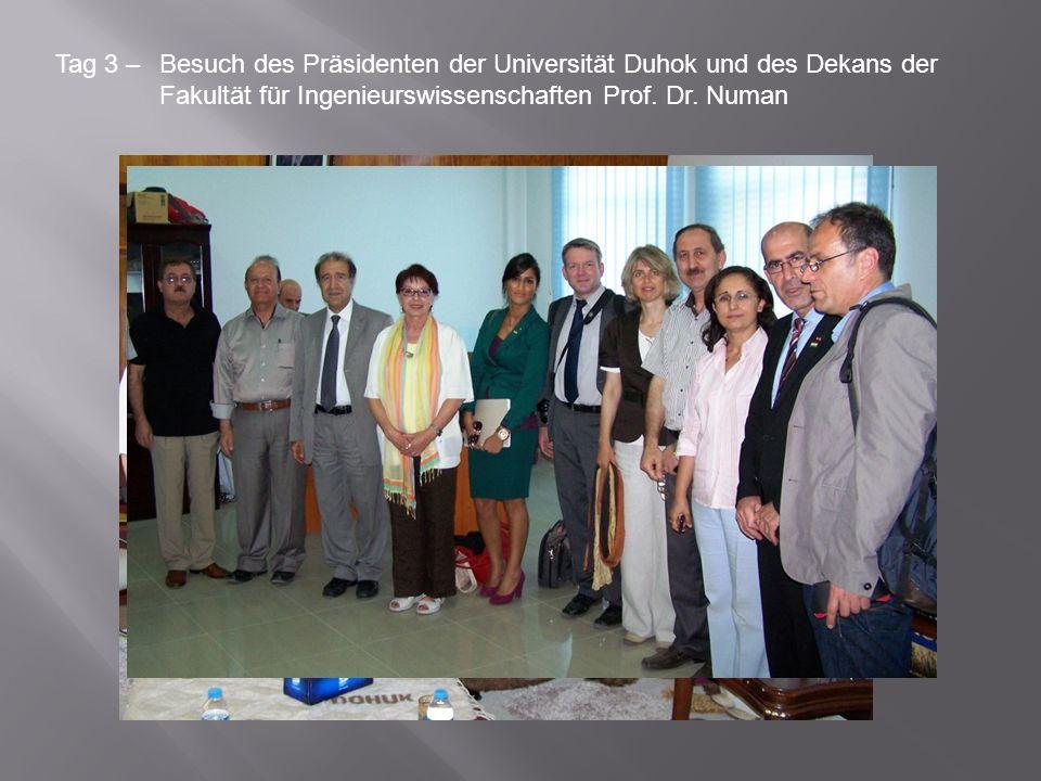 Tag 3 – Besuch des Präsidenten der Universität Duhok und des Dekans der Fakultät für Ingenieurswissenschaften Prof.