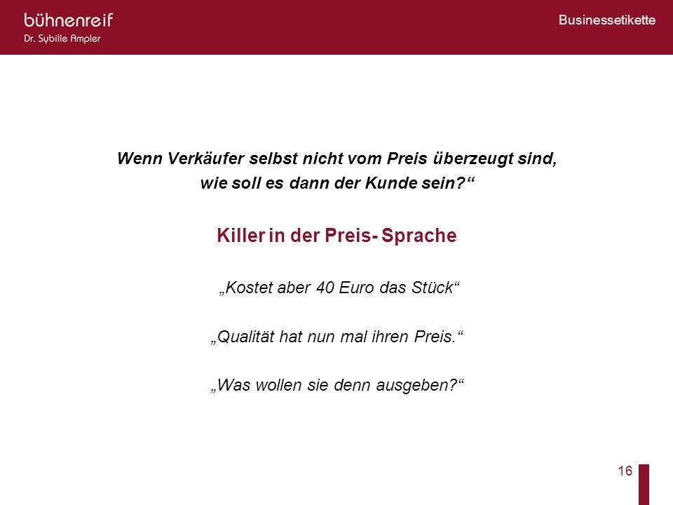 Killer in der Preis- Sprache