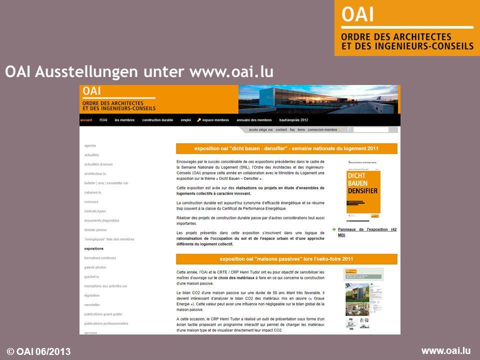 OAI Ausstellungen unter www.oai.lu