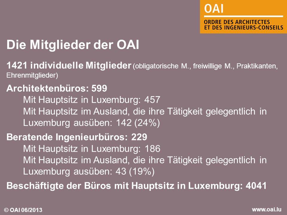 Die Mitglieder der OAI 1421 individuelle Mitglieder (obligatorische M., freiwillige M., Praktikanten, Ehrenmitglieder)