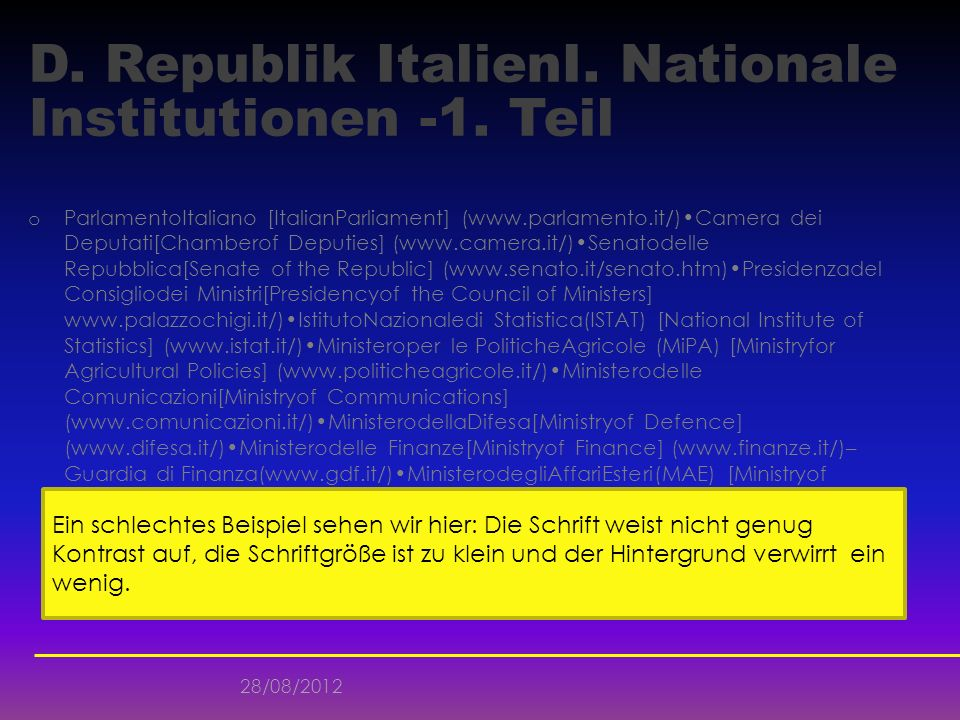 D. Republik ItalienI. Nationale Institutionen -1. Teil