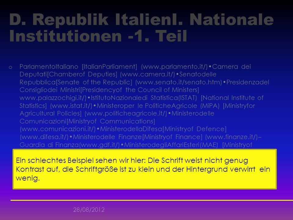 D. Republik ItalienI. Nationale Institutionen -1. Teil