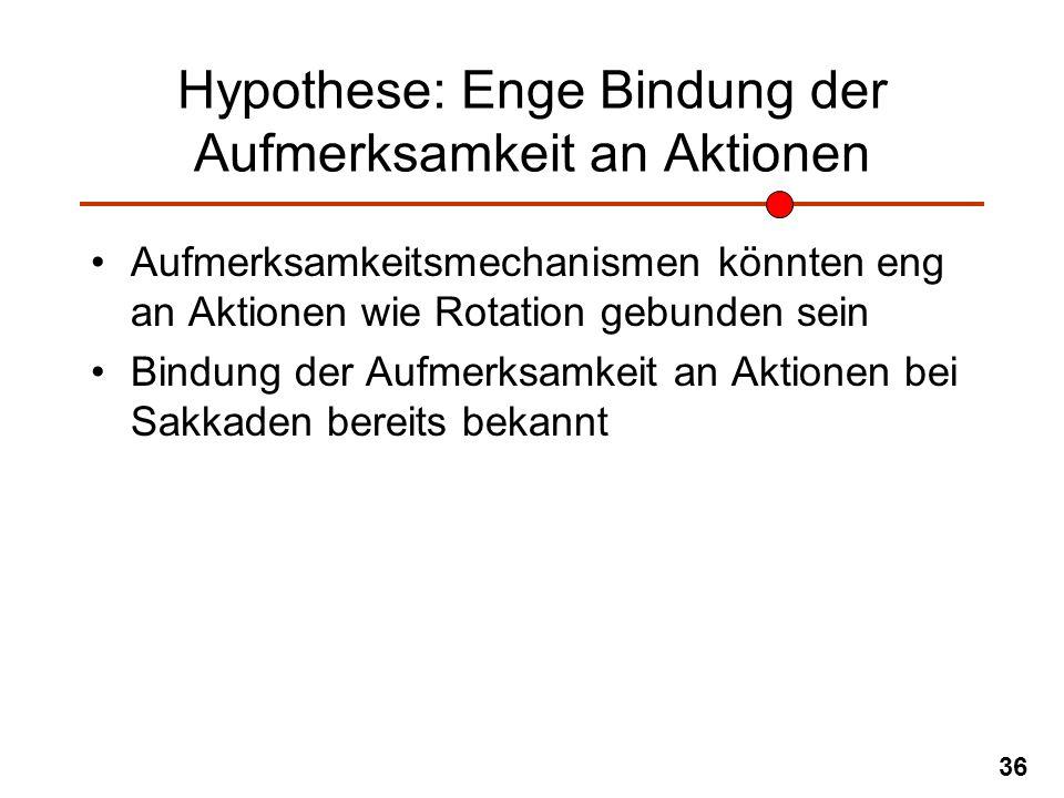 Hypothese: Enge Bindung der Aufmerksamkeit an Aktionen
