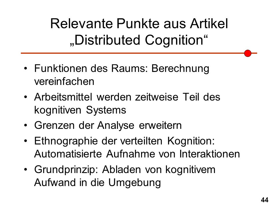 "Relevante Punkte aus Artikel ""Distributed Cognition"