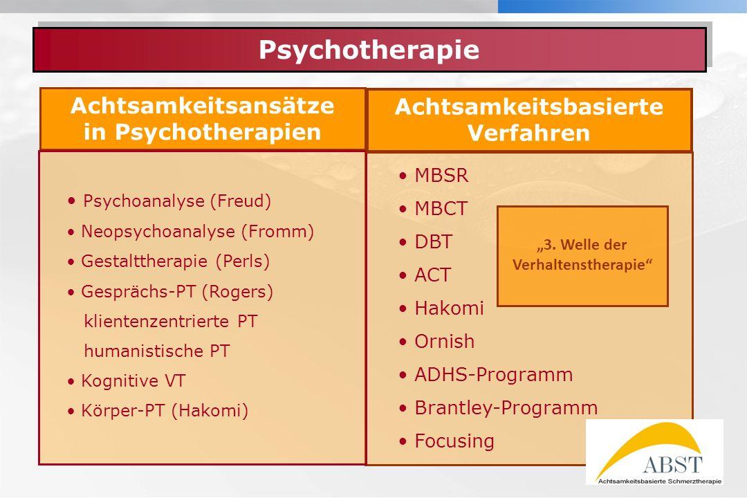 """Achtsamkeitsbasierte Verfahren """"3. Welle der Verhaltenstherapie"""
