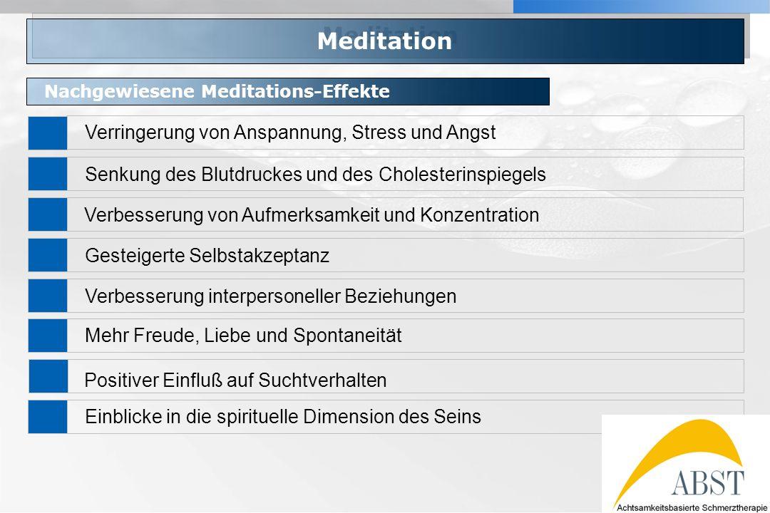 Meditation Verringerung von Anspannung, Stress und Angst