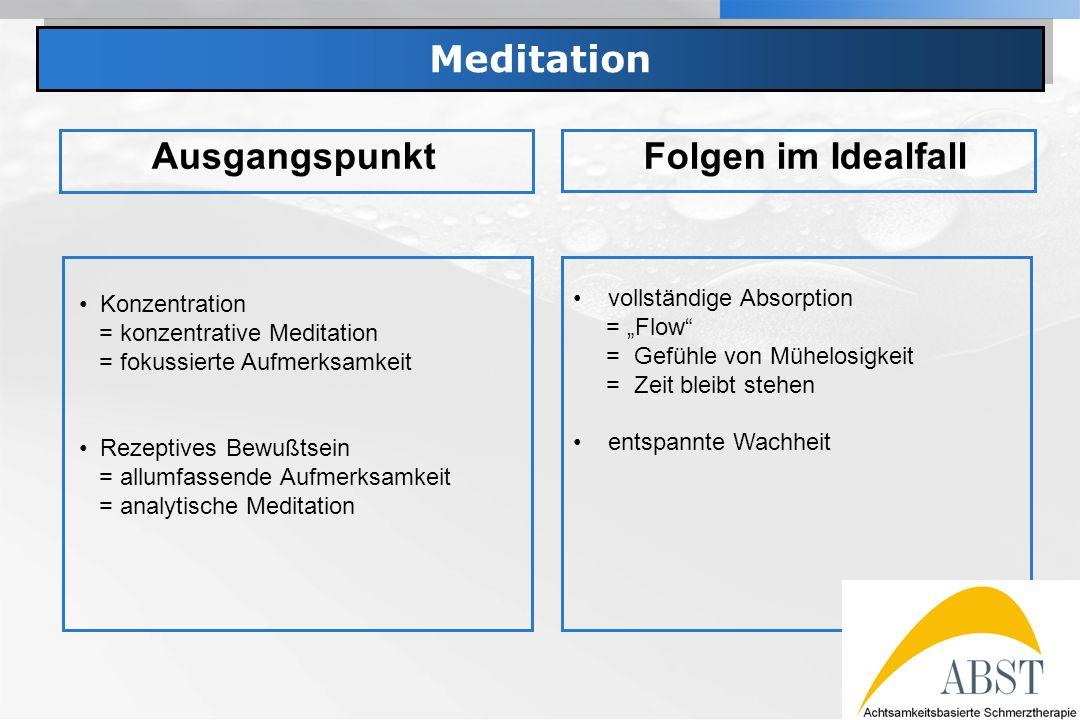 Meditation Ausgangspunkt Folgen im Idealfall vollständige Absorption