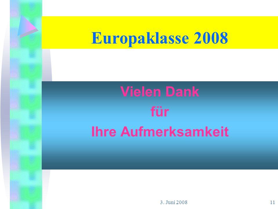 Europaklasse 2008 Vielen Dank für Ihre Aufmerksamkeit 3. Juni 2008
