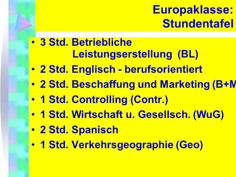 Europaklasse: Stundentafel