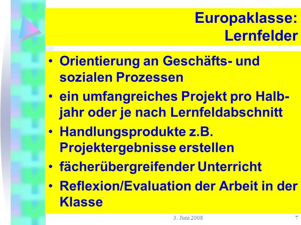 Europaklasse: Lernfelder
