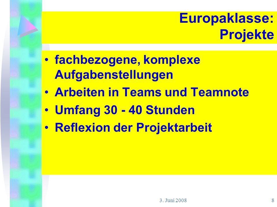 Europaklasse: Projekte