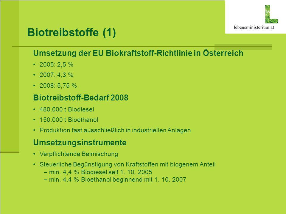 Biotreibstoffe (1) Umsetzung der EU Biokraftstoff-Richtlinie in Österreich. 2005: 2,5 % 2007: 4,3 %