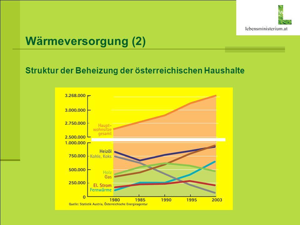 Wärmeversorgung (2) Struktur der Beheizung der österreichischen Haushalte