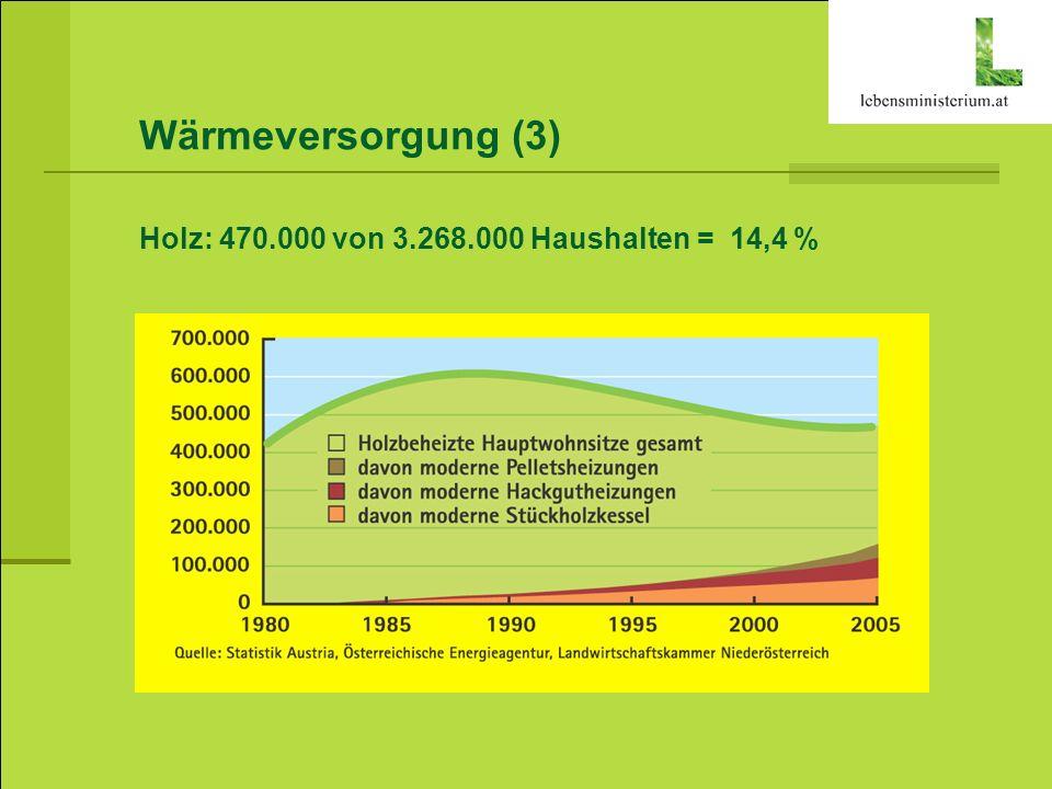 Wärmeversorgung (3) Holz: 470.000 von 3.268.000 Haushalten = 14,4 %