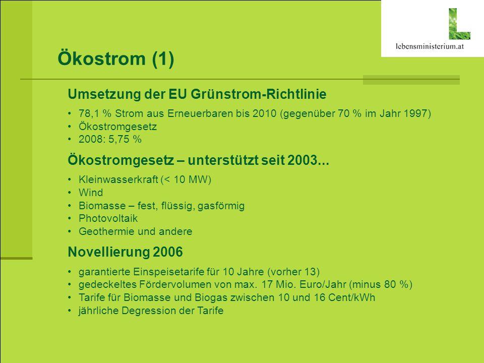 Ökostrom (1) Umsetzung der EU Grünstrom-Richtlinie