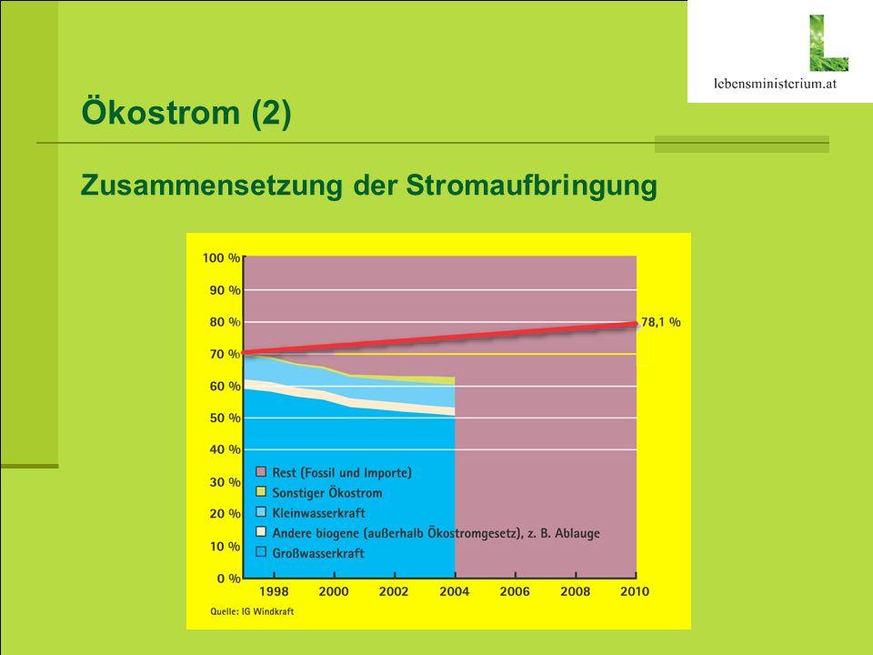 Ökostrom (2) Zusammensetzung der Stromaufbringung