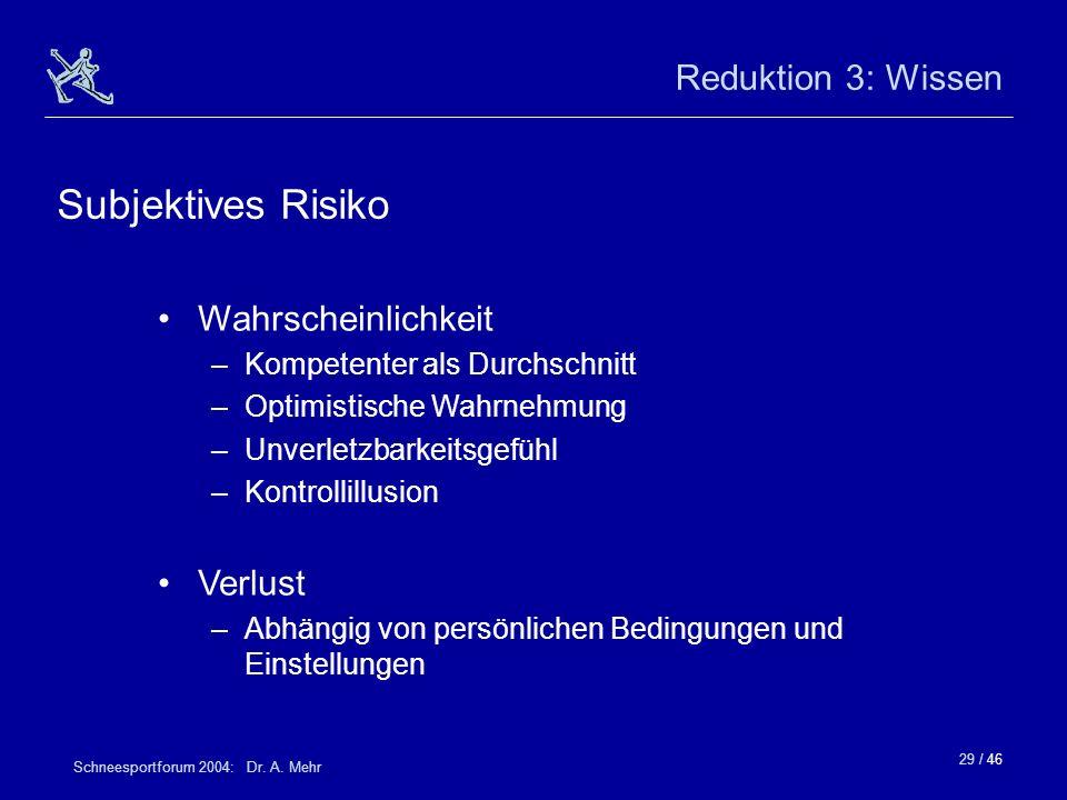 Subjektives Risiko Reduktion 3: Wissen Wahrscheinlichkeit Verlust