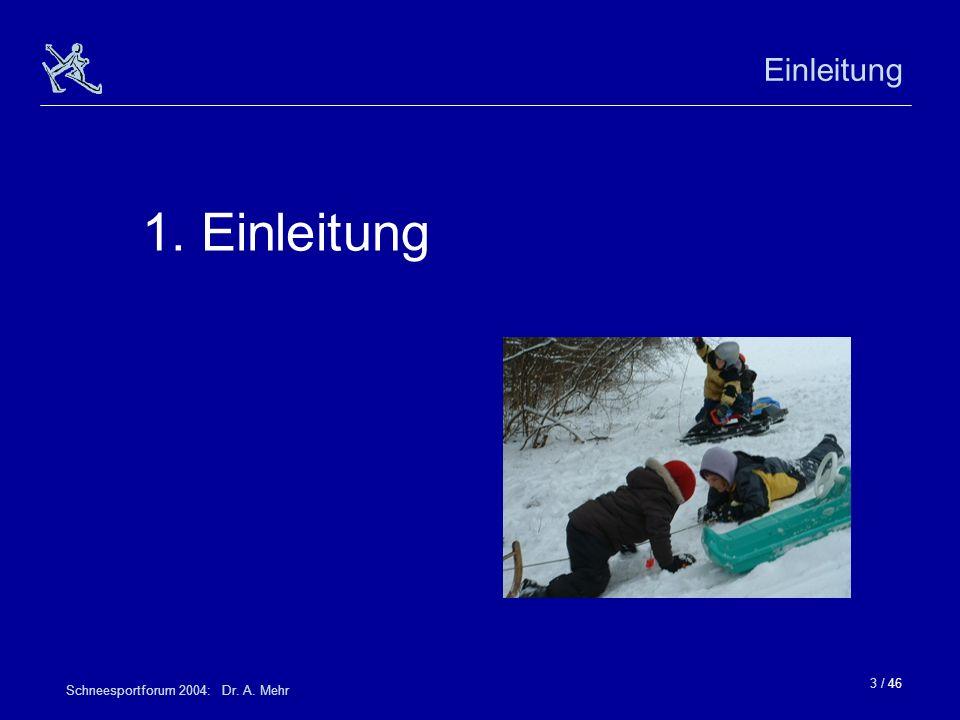 Einleitung 1. Einleitung Schneesportforum 2004: Dr. A. Mehr