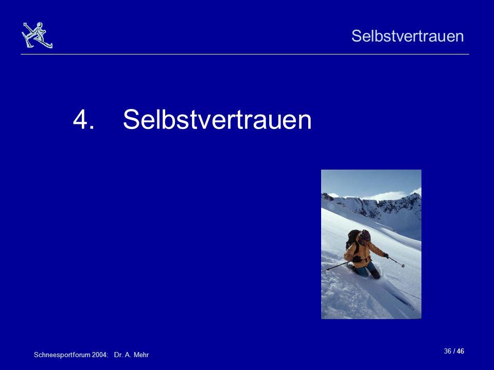 Selbstvertrauen 4. Selbstvertrauen Schneesportforum 2004: Dr. A. Mehr