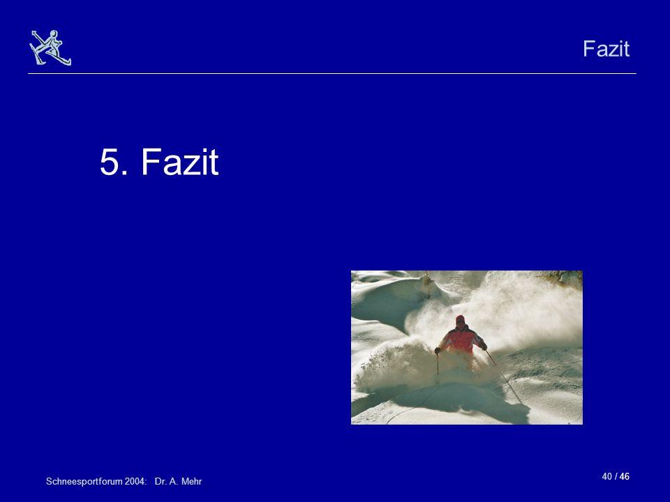 Fazit 5. Fazit Schneesportforum 2004: Dr. A. Mehr