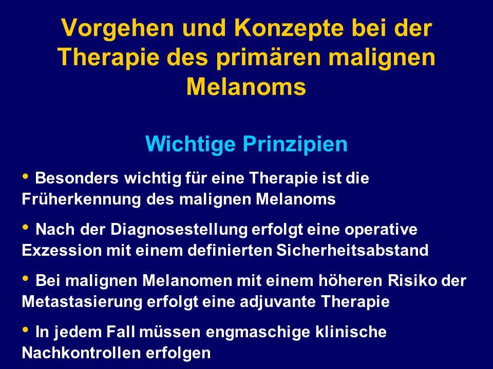 Vorgehen und Konzepte bei der Therapie des primären malignen Melanoms Wichtige Prinzipien