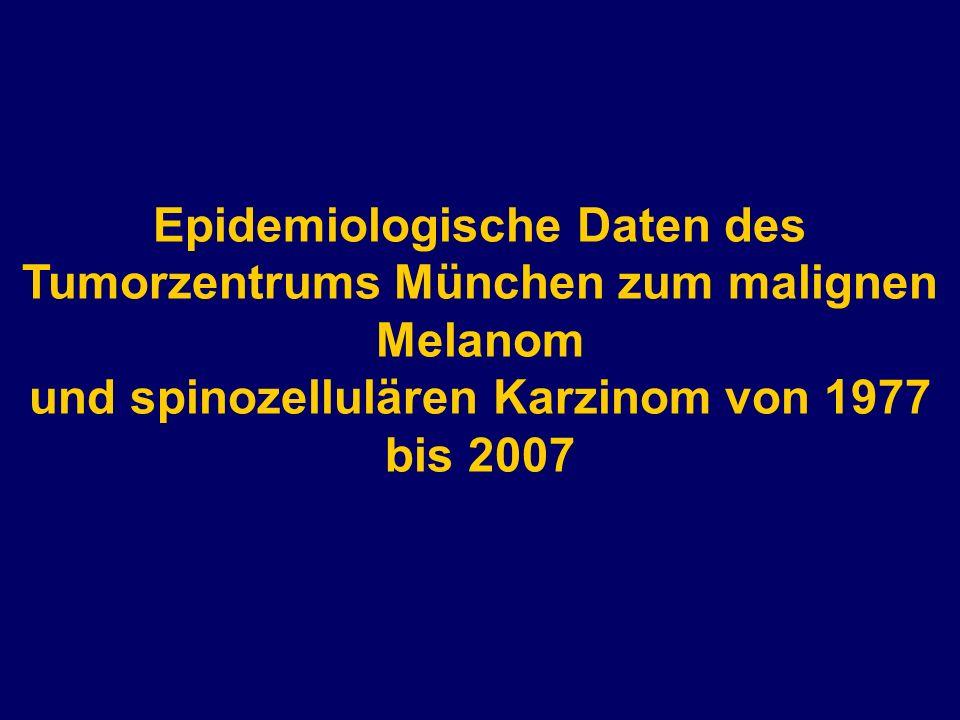 Epidemiologische Daten des Tumorzentrums München zum malignen Melanom