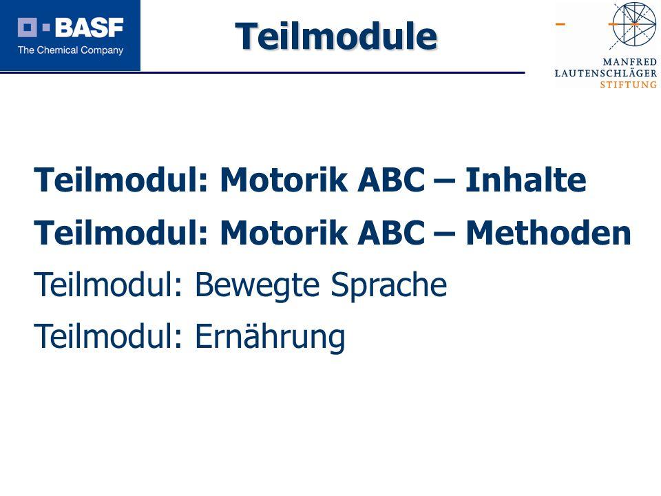 Teilmodule Teilmodul: Motorik ABC – Inhalte Teilmodul: Motorik ABC – Methoden Teilmodul: Bewegte Sprache Teilmodul: Ernährung.