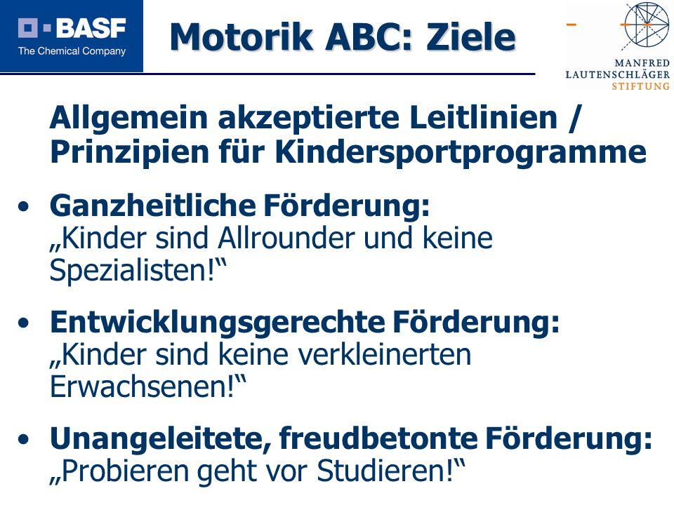 Motorik ABC: Ziele Allgemein akzeptierte Leitlinien / Prinzipien für Kindersportprogramme.