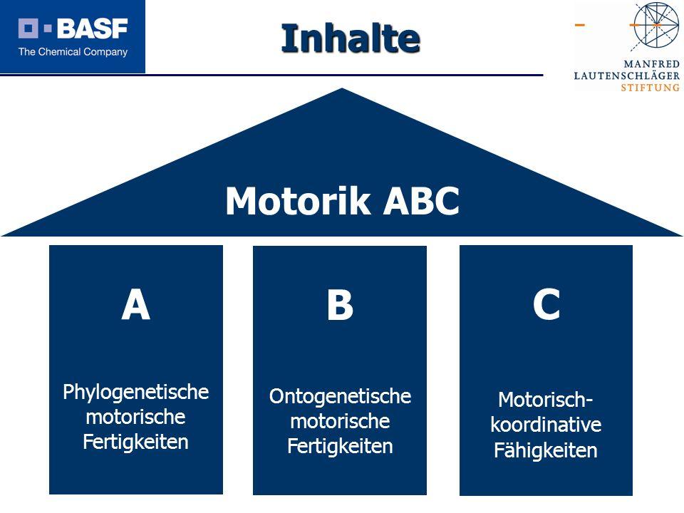 A B C Inhalte Motorik ABC Phylogenetische motorische Fertigkeiten