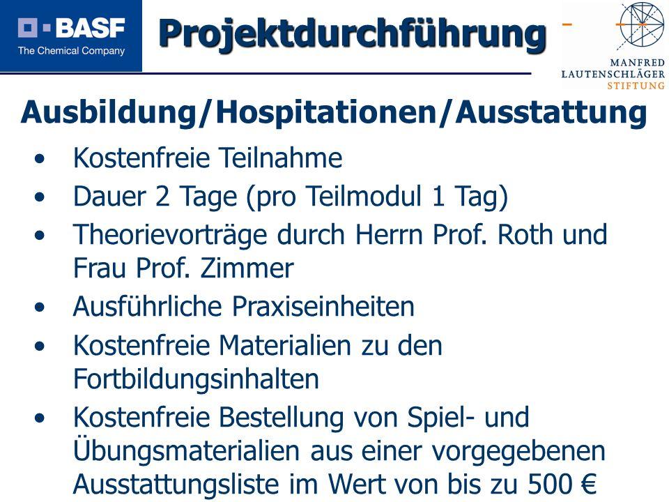 Projektdurchführung Ausbildung/Hospitationen/Ausstattung